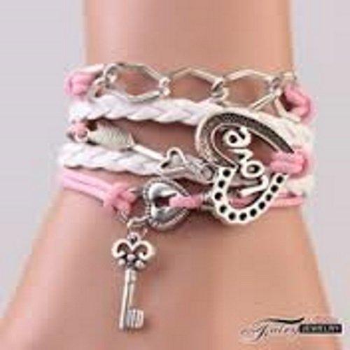 Unbekannt rosa Liebes Armband mit Herz und Schlüssel