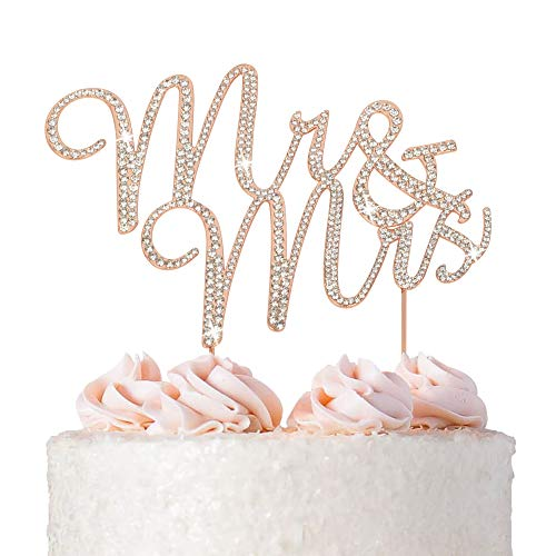 Mr and Mrs Wedding Cake Topper - Premium Rose Gold Metal - Sparkly Wedding or Anniversary Cake Topper - Now Protected in a Box