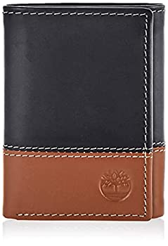Timberland Men s Leather Trifold Wallet with ID Window Black/Brown  Hunter  One Size