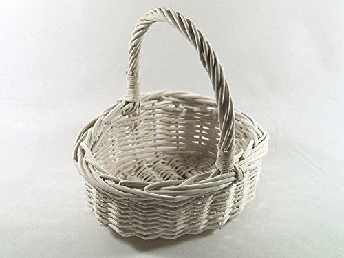 Adam Schmidt Kinderkorb Henkelkorb oval weiß Gross, Höhe: ca. 10/23 cm, Größe: ca. 23 x 20 cm - Blumenkinderkorb Streukorb Streukörbchen Korb Weidenkorb geflochten