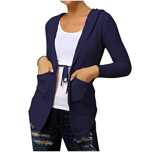 Aploa Damen Sweatjacke Strickjacke Kapuzen-Jacke Hoodie Damen Kapuzen Strickjacke Plaid Langarm Casual Coat Oberbekleidung Mantel Strickjacke Damen mit V-Ausschnitt Pullover Tops(Blau,S)