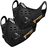 2 x FIGHTECH Face Cover | Combo Kit with 10 Active Carbon Filters (Large, Black)