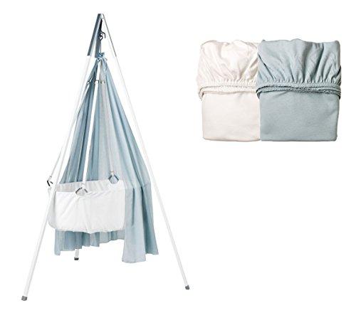 Kit Berceaux – Berceau avec voile Misty Blue, trépied Blanc et Lot de 2 draps housse 1 x Misty Blue/1 x blanc
