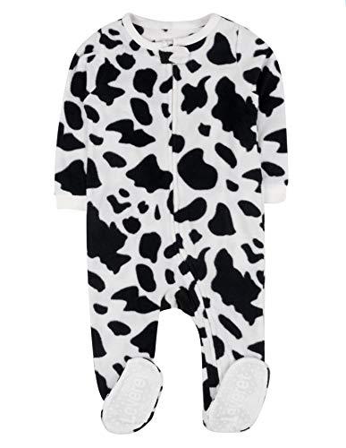 Leveret Fleece Baby Boys Girls Footed Pajamas Sleeper Kids & Toddler Christmas Pajamas (3 Months-5 Toddler) (2 Toddler, Cow Black/White)