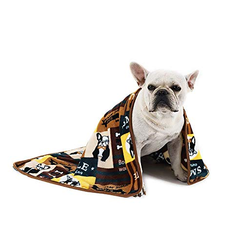 ALBOLET Pet Mat Supper Soft Thinner Flannel PET Blanket Dog CAT Teddy Golden Kennel Dog Blanket-French Bulldog Pattern,34″x24″