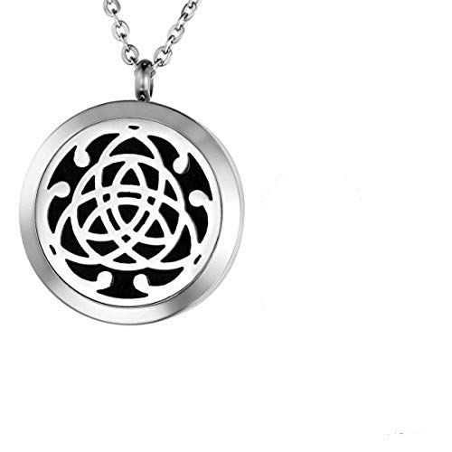Valyria Aromatherapy Essential Oil Diffuser Necklace Celtic Knot Locket Pendant with Engraving (Luxury Box)