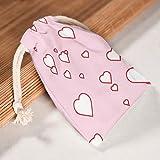 Toomjie - 5 bolsas de lona con forma de corazón para bodas, reutilizables, personalizadas, con cordón de algodón, 12 x 18 cm