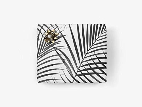 5 Bögen Geschenkpapier - Palms - von typealive - schwarz-weiß, sommerliche Geschenkbögen im schlichten Design im Format 50x70 cm