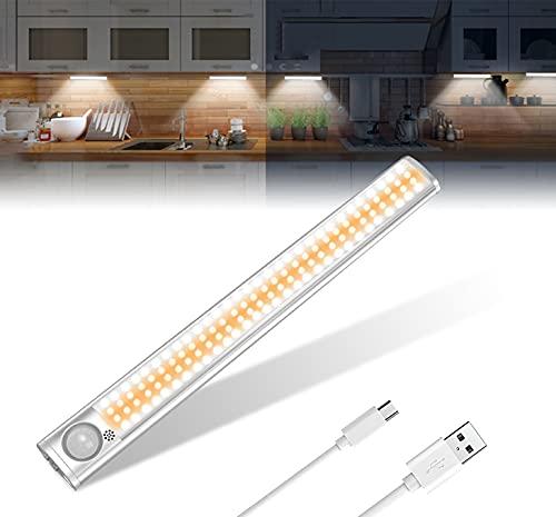 Luce per Armadio, LED Armadio Sensore Movimento Luce con USB Ricaricabile 120 LED Luci Camera da Letto con Striscia Magnetica Adesiva,Luci da Esposizione (regolabili in 3 colori)