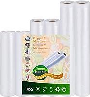Vacuümzakken voor levensmiddelen, 6 rollen, 20 x 300 cm en 28 x 300 cm en 15 x 300 cm, BPA-vrij, FDA-goedgekeurd,...