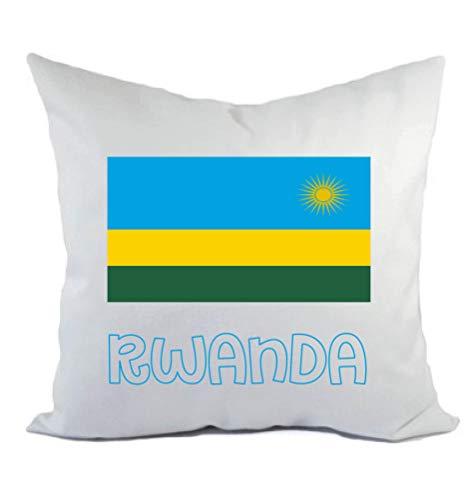 Typolitografie Ghisleri kussen wit Rwanda met vlag kussensloop en vulling 40 x 40 cm van polyester