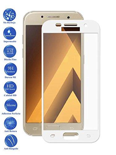 Todotumovil Protector de Pantalla Samsung Galaxy A5 2017 Blanco Completo 3D Cristal Templado Vidrio Curvo para movil