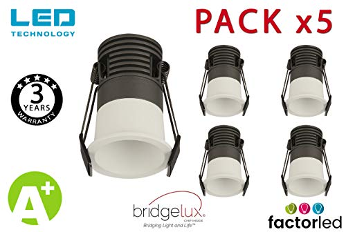 FactorLED Pack x5 Empotrable LED 5W Blanco Bridgelux Chip - 40° - UGR11 Antideslumbramiento, Foco Techo 25W total, Diseño elegante [Clase de eficiencia energética A+] (White, Luz Cálida (3000K))