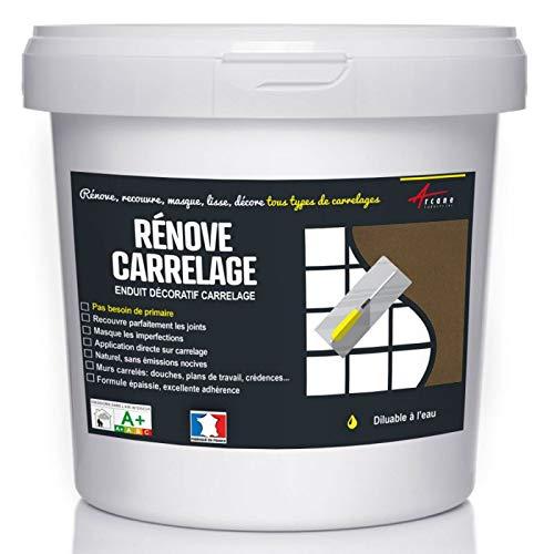 Putz für Fliesen - Fliesen verputzen - Betonbeschichtungs-Effekt - RENOVE CARRELAGE - Kaffee - Kit 20kg - 13m² für 2 Schichten