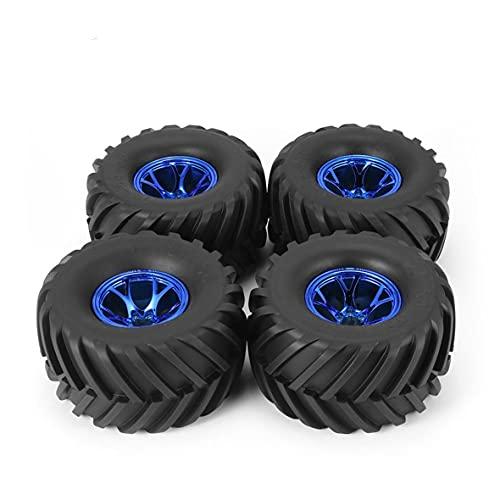 Wolfberrymetal Buje de llanta de Rueda de neumático de Goma de 4130 mm para HSP HPI 1/10 RC Modelo de pies Grandes Beadlock sin Piezas de Repuesto de encolado (Azul)