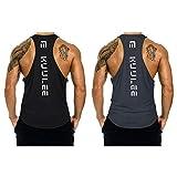 KUULEE Hommes Musculation Débardeur Bodybuilding Stringer Gilet sans Manche Maillot Training Tank Tops Sport T-Shirt Fitness Gym