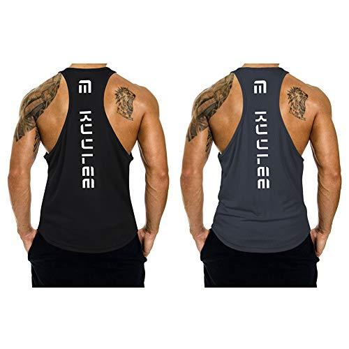 Preisvergleich Produktbild Kuulee Herren Gym Stringer Fitness Tank Top Herren Funktionelle Sport Bekleidung Bodybuilding T-Shirt Trainingsshirt ärmellos Weste Muskelshirt (Verpackung MEHRWEG)