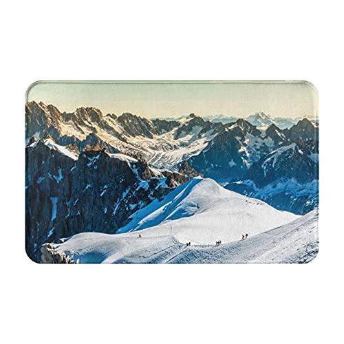 "COFEIYISI Bathroom Rug Mat,Mont Blanc Chamonix French Alps France Europe Tourists Climbing Mountain,Extra Soft Absorbent Rug,Non-Slip Comfortable Bath Mat Carpet for Tub,Shower,Bath Room,19.5"" x 31.5"""