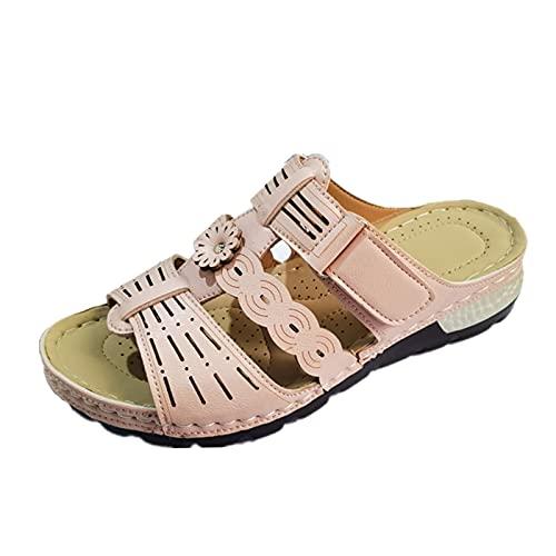 Damen Sandalen T-Riemen Bequeme Flache Beach Strandsandale Slingback Peep Toe Slip On Hausschuhe Slipper Sommer Sandals Freizeitschuhe(1-Pink/Pink,40) 866