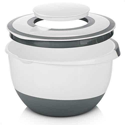 COM-FOUR® 5 l Rührschüssel mit Deckel, Salatschüssel, Frischhaltedose & Backschüssel mit Stoppboden, Spritzschutzdeckel, Rühröffnung und Ausgießer [Auswahl variiert]