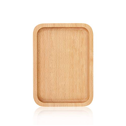Wood Dinner Plates, Wooden Square Serving Tray Fruit Dessert Cake Snack Steak Salad Bread Butter Cheese Hamburger Appetizer Wooden Charger Platter