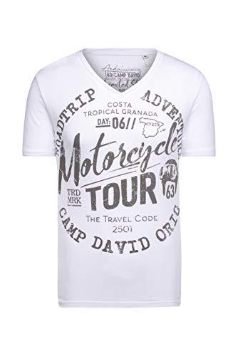 Camp David Herren T-Shirt V-Neck mit Prints