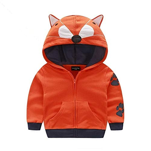 Gyratedream kinderjack jongens cartoon tijgerhoed ritssluiting shirt schattige coats winter lente (3-8T), 100, oranje