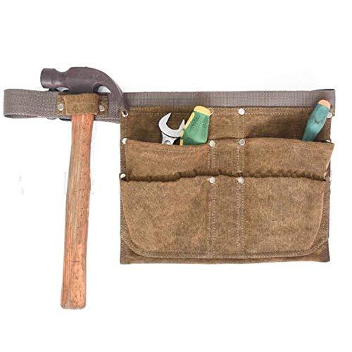 HAPPYX Attrezzi da Giardinaggio Borse da Cintura Cintura Regolabile Cintura da Lavoro Professionale Resistente, 6 Tasche