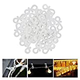Meetory Christmas Mini Gutter Hang Hooks Weatherproof Plastic S Clip Hooks for Xmas Decoration Outside String Lights (50pcs)