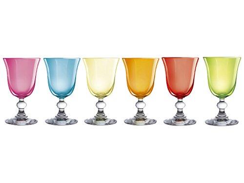H&H Mediterraneo Servicio de Cálices para Vino, Vidrio, Colores Variados, 15 cl,...