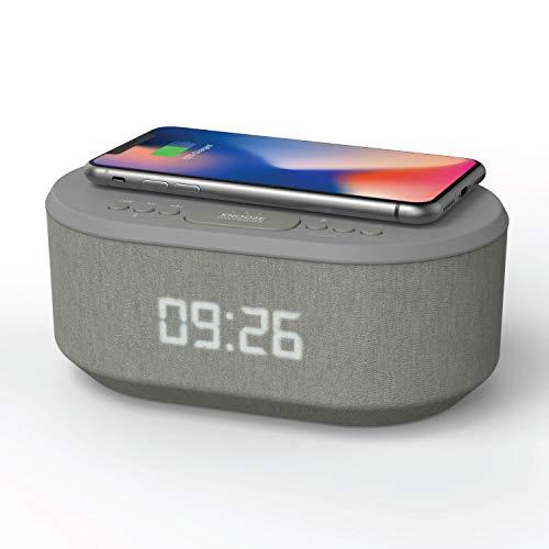 i-box Nachttisch, kabelloses Aufladen, Nicht tickender Radiowecker mit dimmbarem LED-Display, Netzbetrieb, Dual-Wecker mit USB-Ladegerät und Bluetooth-Lautsprecher, Grau