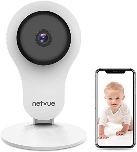 Camera Surveillance WiFi Interieur 1080P NETVUE, avec Vision Nocturne Infrarouge IP Cam 2 Voies de Alerte de Detection Humaine , Compatible avec Alexa Echo Show, 7 x 24h Cloud Storage