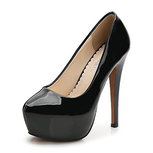 OCHENTA Damen Runde Zehen Stiletto High Heel Plateau Slip On Pumps, - Schwarz - Größe: 43.5 EU