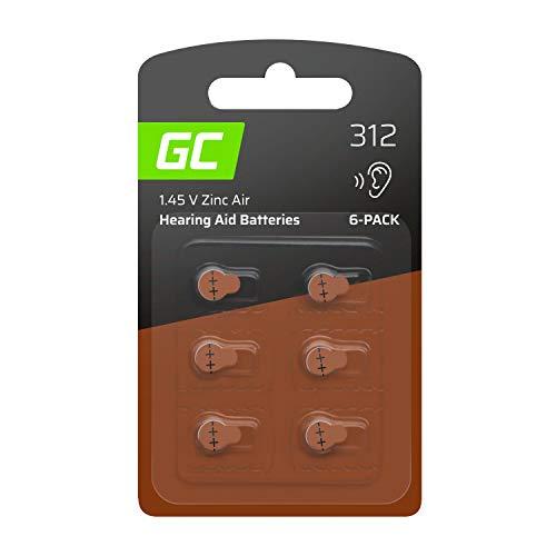 Blister - 6 Stück Green Cell Hörgerätebatterien batterien Typ 312 P312 PR41 ZL3 Zinc Zinc-Air für Hörgeräte und Otoplastiken