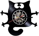 Reloj de pared de vinilo retro creativo reloj de pared armadura sintética reloj de vinilo artificial decoración sala de estar cuarzo reloj de pared-Senza_luce_LED