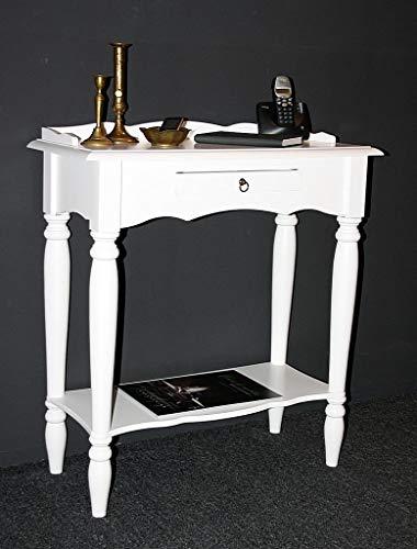 Casa Massivholz Konsolentisch weiß lackiert Wandtisch Telefontisch