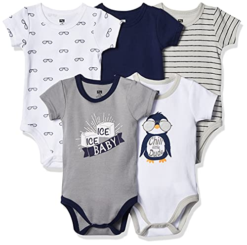 Hudson Baby Unisex Baby Cotton Bodysuits, Chill Dude 5 Pack, 0-3 Months
