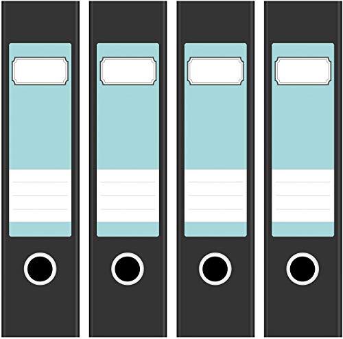 Ordneretiketten | 4 Aufkleber für breite Akten-Ordner | Farbe Türkis | selbstklebende Design Akten-Etiketten | Deko Sticker für Rückenschilder Ordnerrücken | zum Beschreiben