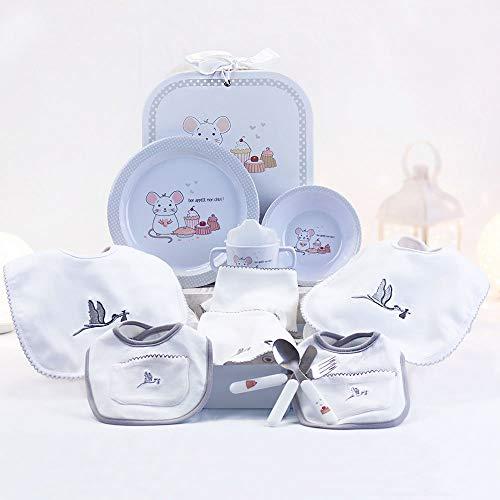 BebeDeParis | Regalos Originales para Bebés Recién Nacidos | Canastilla con Vajilla y Set de Baberos | 3-6 Meses (Gris)