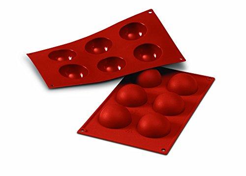 SF003 Molde de Silicona, 6 cavidades Semi esferas, Color Terracota