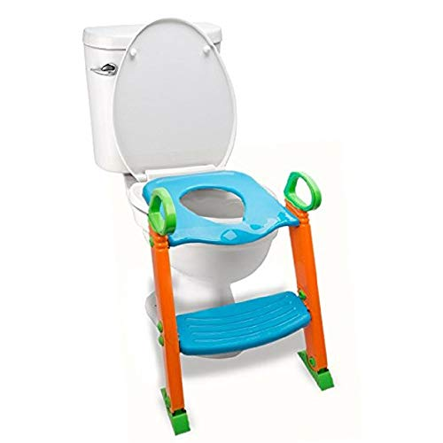 Potty Training Seat Toilet with Ladder - Potty Step Stool for Kids Toddlers w/Handles. Sturdy, Safe & Adjustable Height. Non-Slip Steps & Anti Slip Pads. Trainer Folds Easy for Boys Girls Baby