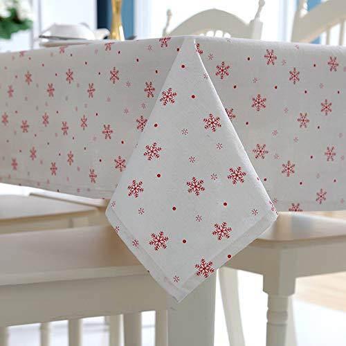 NTtie Mantel Borlas Pequeño Estilo Fresco Manteles Antimanchas Copo de Nieve Rojo algodón poliéster Simple