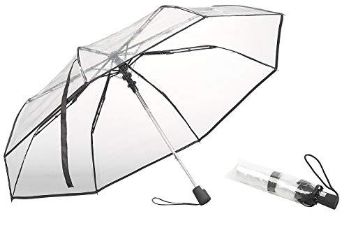 Carlo Milano Regenschirm: Stabiler Automatik-Taschenschirm mit transparentem Dach, Ø 100 cm (Schirm transparent)