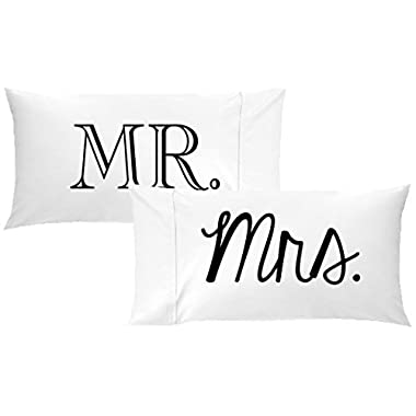 Oh, Susannah Mr and Mrs Pillow Cases Gift for Couples Wedding Decoration Bride and Groom Anniversary Gifts for Her or Him His and Hers Gifts (Two 20x40 King Size Pillowcases) Valentines Day Present