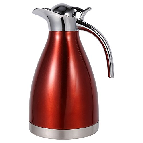 1.5L/2L Thermo Pot Cafetera Tetera de acero inoxidable Jarra aislada de vacío de doble pared Botella de agua caliente con mango de aleación de zinc(1.5L-rojo)