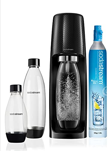 Sodastream Spirit Mega Pack Black Carbonator, 3 botellas y 1 cilindro incluidos