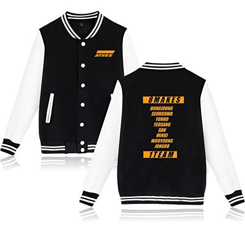 KPOP ATEEZ Baseball Jacke Bedrucken Pullover Langarm Streetwear Sweatshirts Loose Bequeme Warme Hip Hop Sweater Tops HONGJOONG SEONGHWA Yunho YEOSANG SAN MINGI WOOYOUNG JONGHO