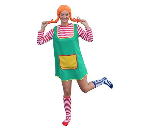3-TLG. Kostüm-Set Karlinchen für Erwachsene bestehend aus Kostüm, Perücke in orange und zweifarbigen Overknee-Strümpfen (Set 1 - Größe 38)