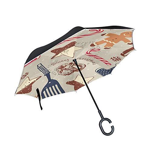 Paraguas invertido de Doble Capa, a Prueba de Viento, para Exteriores, para Lluvia, Sol, para automóvil, con Mango en...