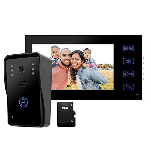 Timbre de Videoportero TFT de 7 Pulgadas, Timbre de Cámara Inteligente Impermeable con Vista Nocturna, 8G, Cámara CCTV, para Seguridad en El Hogar (Color : Black, Size : 225x128x20mm)